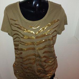 Golden Tiger Sequin T Shirt
